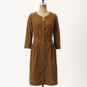 Anthro Maeve brown corduroy shirt dress button 0